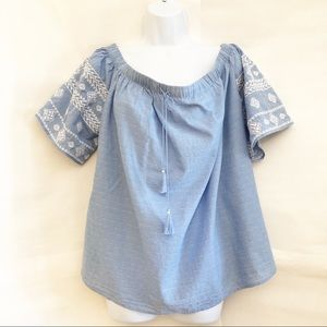 OLD NAVY-Chambray Off the Shoulder Top Sz XL